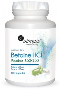 Betaine HCL, Pepsine 650/150 mg x100 kaps Aliness